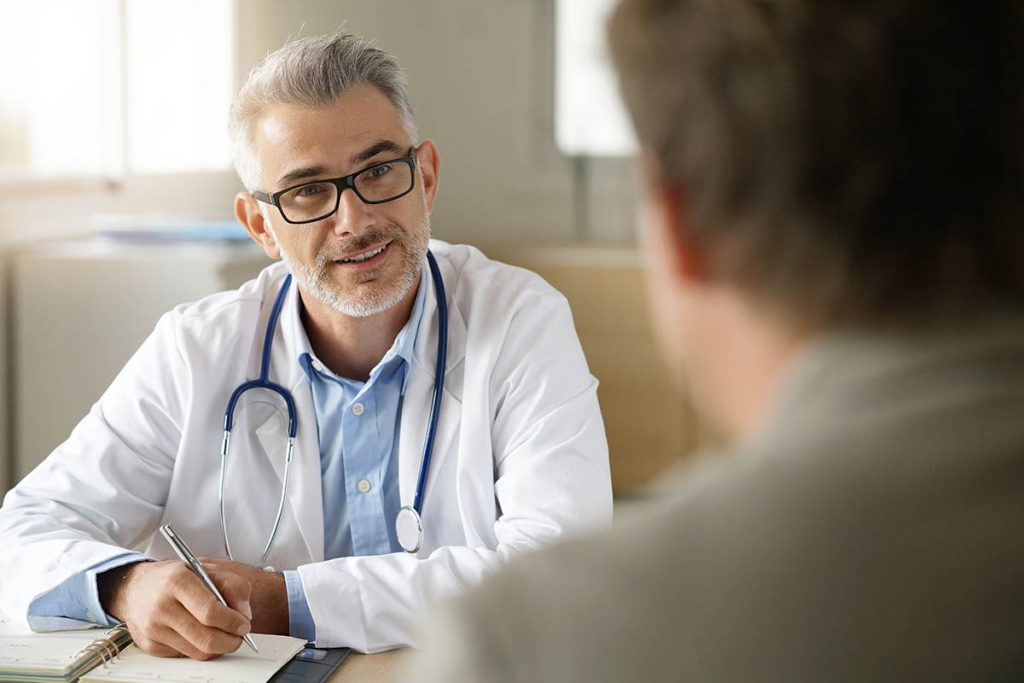 Doctor answering questions about testosterone prescription